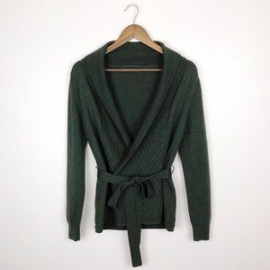 Antonio Melani • Green Self-Tie Wool Cardigan